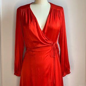 NWT Zara Vibrant Red Wrap Dress Large